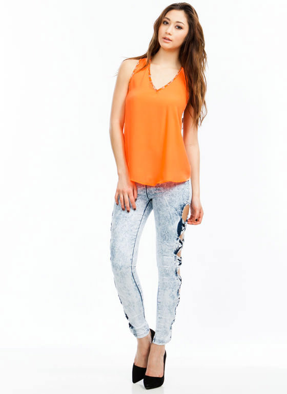 Bow-dacious Acid Wash Cut-Out Jeggings LTBLUE