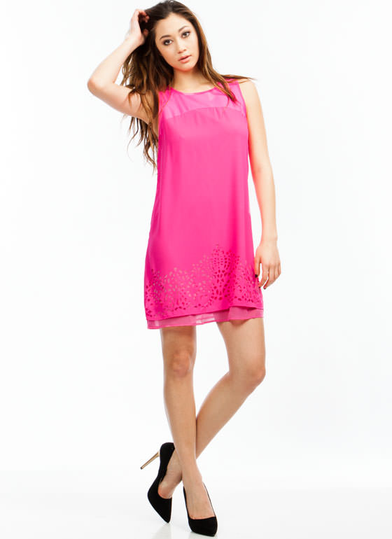 Geometric Play Laser Cut-Out Dress HOTPINK