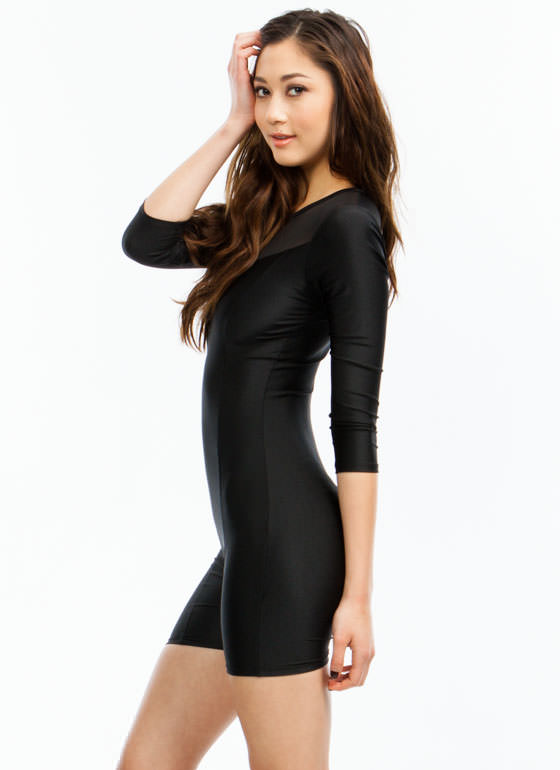 Sleek N Sultry Mesh Romper BLACK