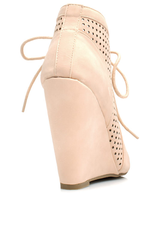 Cut-Out Perforated Bootie Wedges NUDE