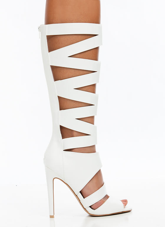 X Marks the Spot Gladiator Heels WHITE
