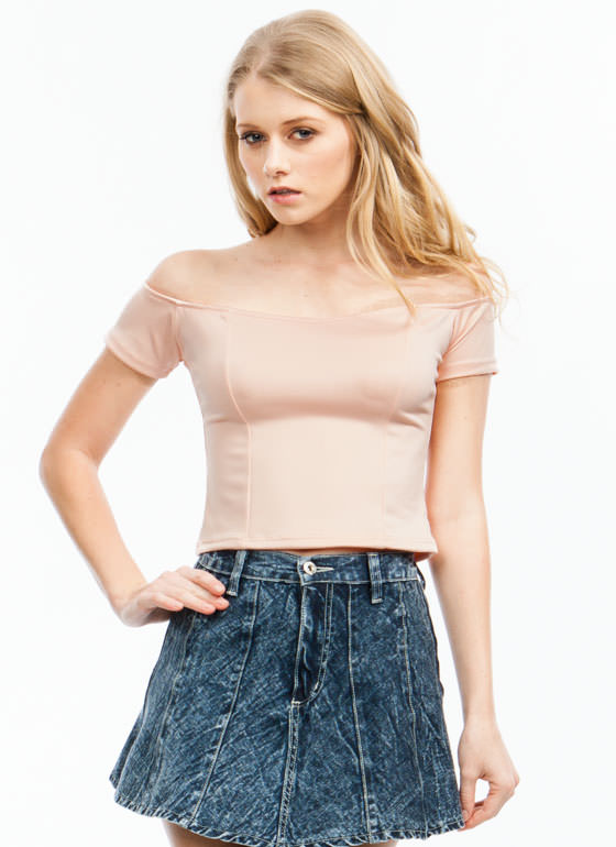 Scuba Sweetheart Cropped Top PEACH