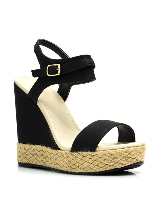 Braided Hemp Wedges BLACK