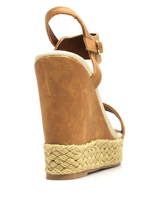 Braided Hemp Wedges CAMEL