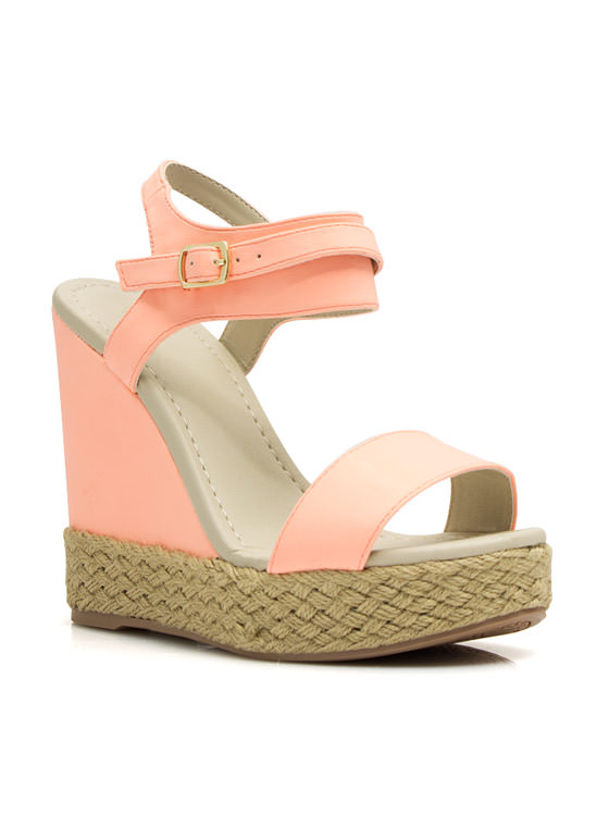 Braided Hemp Wedges PEACH