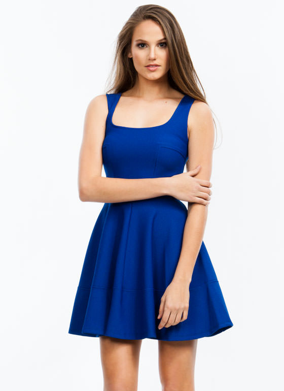 Textured Panel Skater Dress COBALT