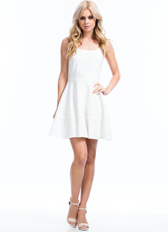 Textured Panel Skater Dress OFFWHITE