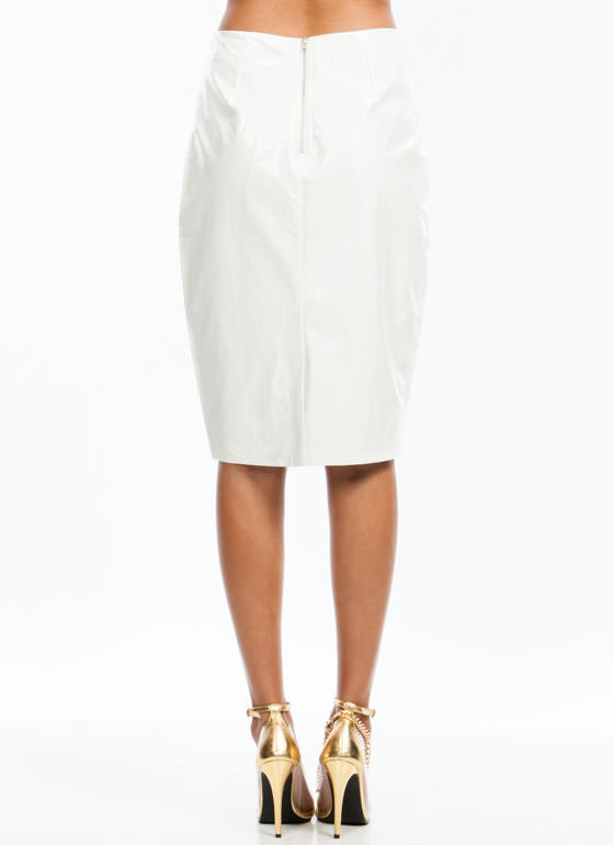 Slick Patent Pencil Skirt WHITE