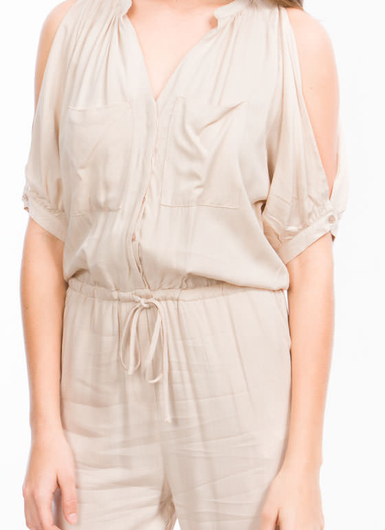 Cold Shoulder Cut-Out Jumpsuit TAUPE