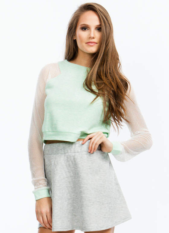 Athletic Mesh Cropped Sweatshirt MINT