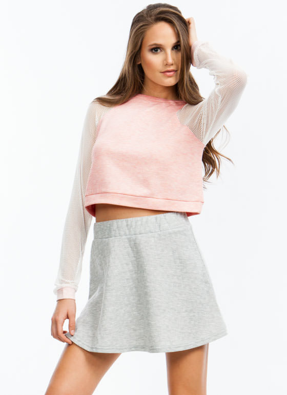 Athletic Mesh Cropped Sweatshirt PINK