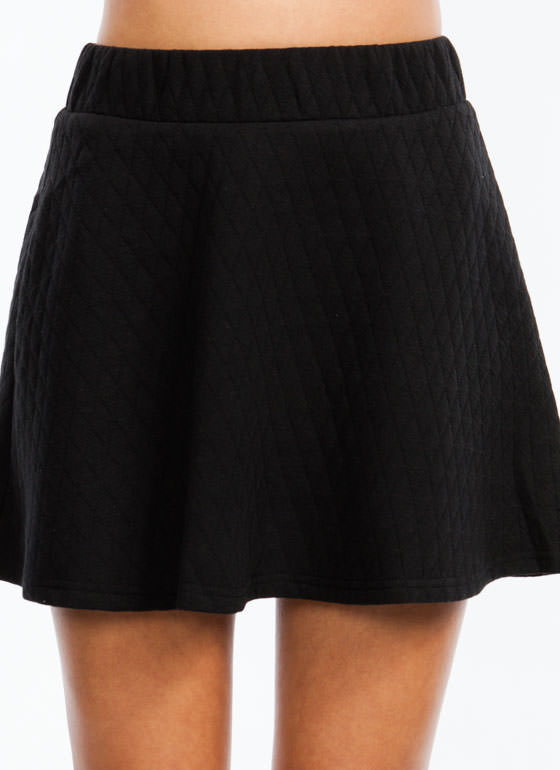 Quilt You Into It Skater Skirt BLACK