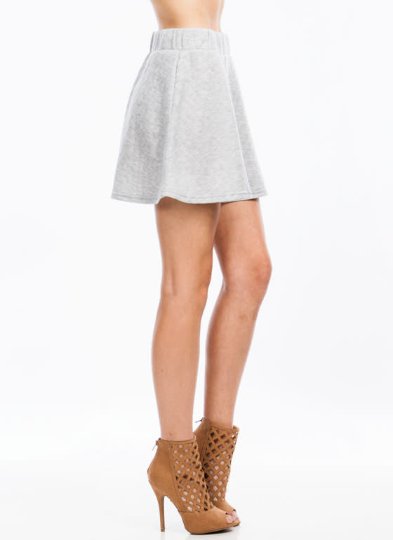 Quilt You Into It Skater Skirt HGREY