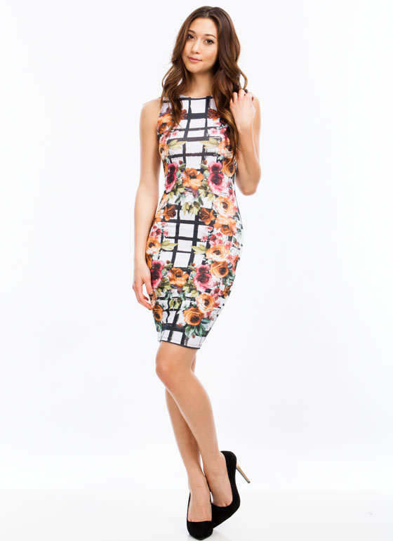 Floral Meets Grid Bodycon Dress WHITEMULTI