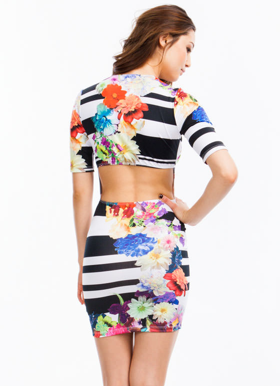 Print Mixer Bodycon Dress MULTI
