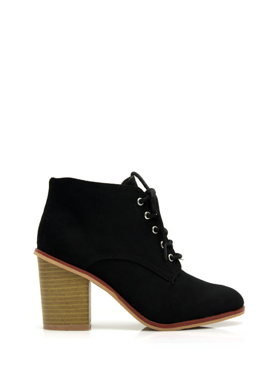 Get Laced Faux Suede Booties BLACK
