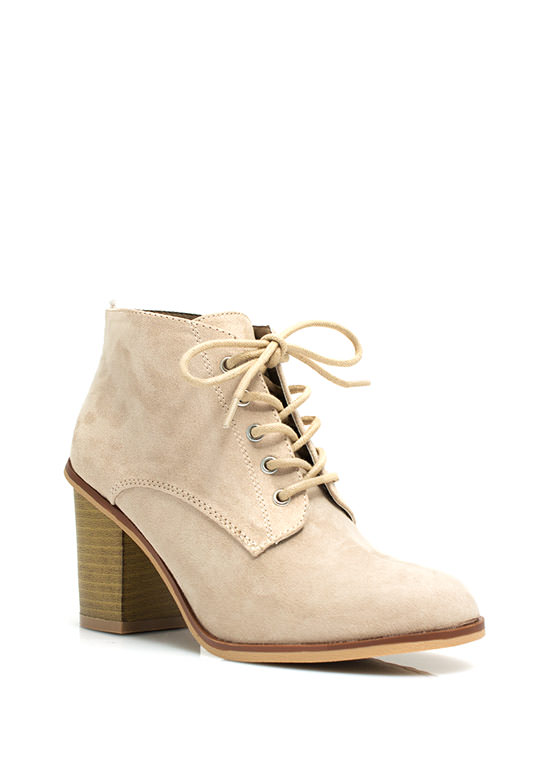 Get Laced Faux Suede Booties TAUPE