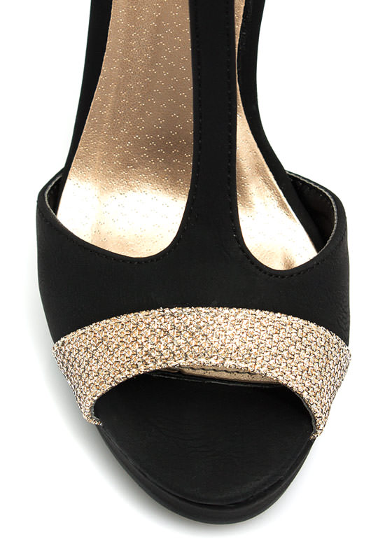 Glitter To The Top Platform Heels BLACK