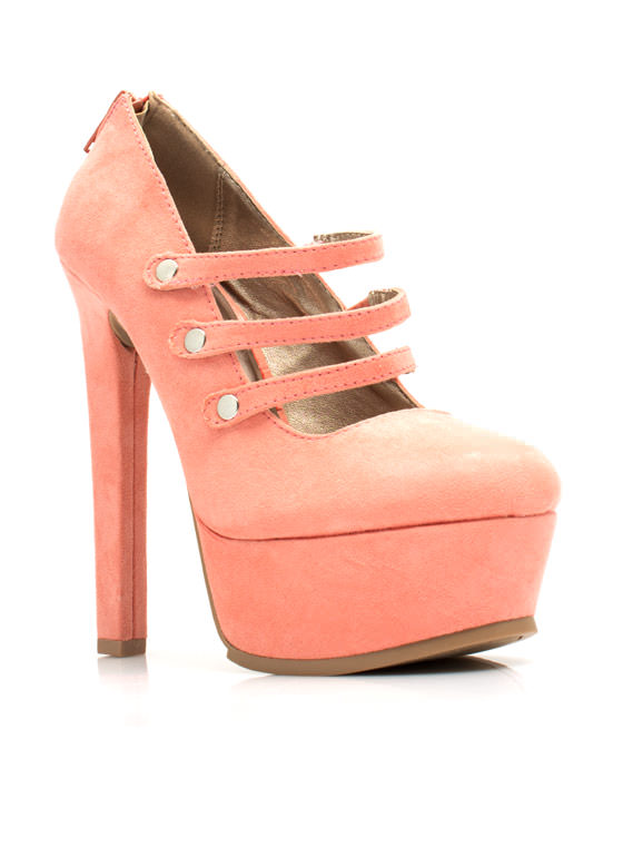Three's A Party Mary Jane Platforms SALMON