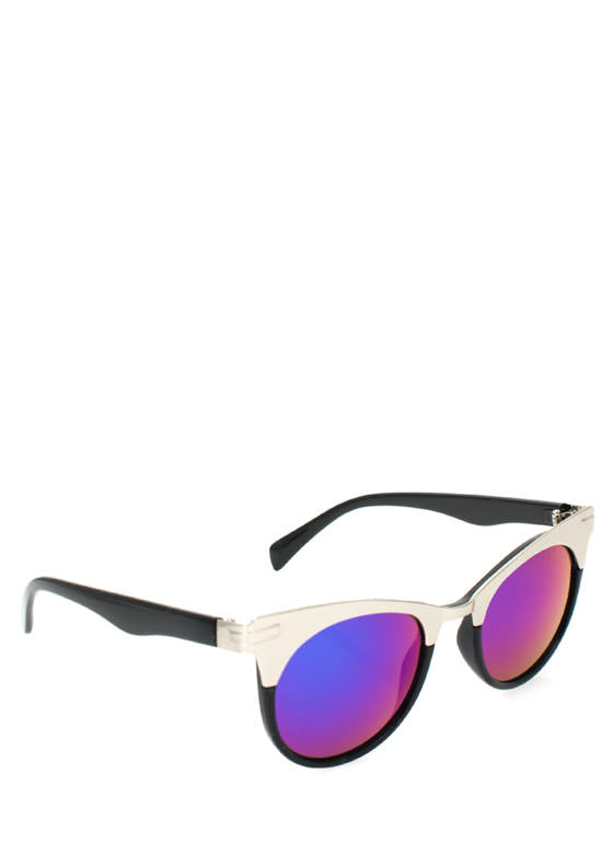Metallic Accent Cat Eye Sunglasses BLUESILVER