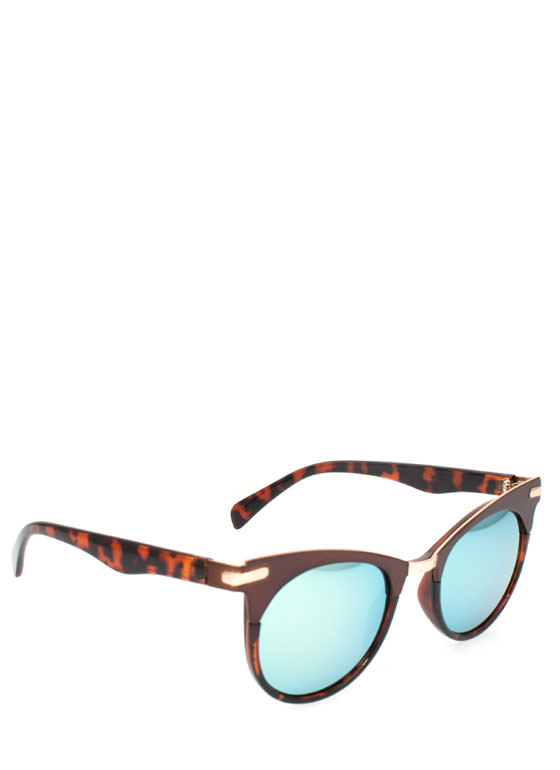 Metallic Accent Cat Eye Sunglasses TORTBRONZE