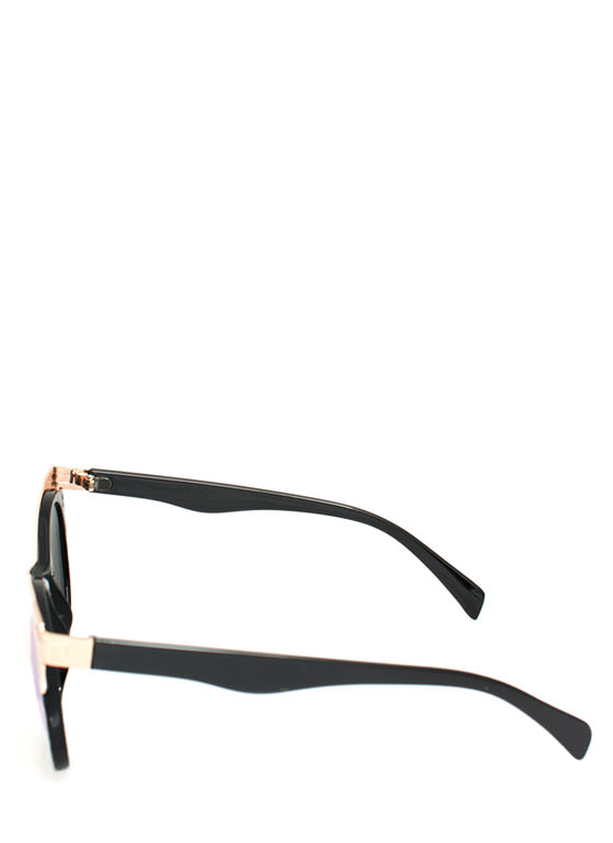 Metallic Accent Cat Eye Sunglasses YELLOWGOLD