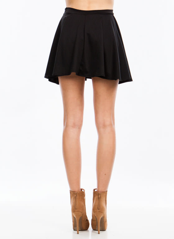 Let's Play Flare Skater Skirt BLACK