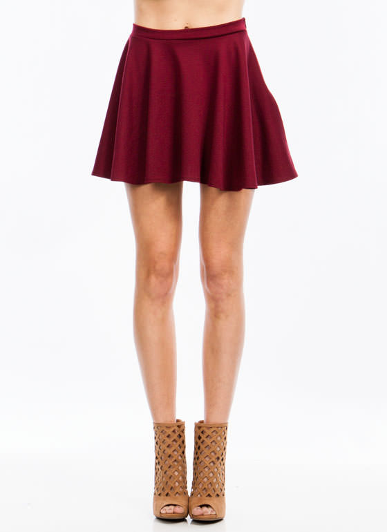 Let's Play Flare Skater Skirt BURGUNDY