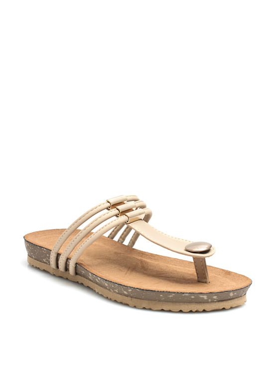 Tri-Cord Metal Accent Sandals NUDE
