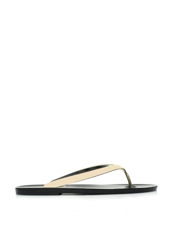 Metallic Jelly Thong Sandals BLACK