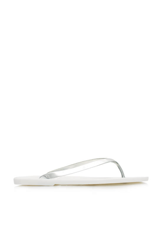 Metallic Jelly Thong Sandals WHITE