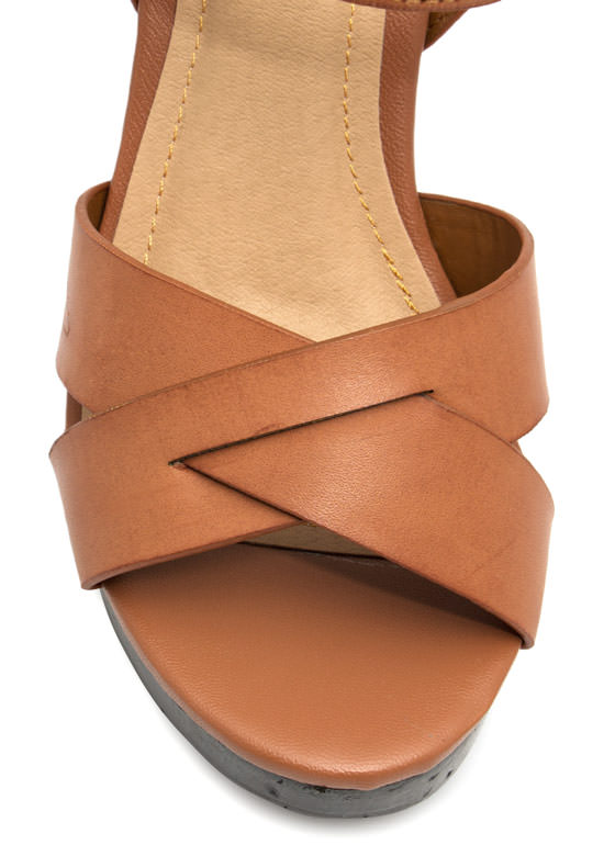 Pull Thru Chunky Faux Wood Platforms CHESTNUT