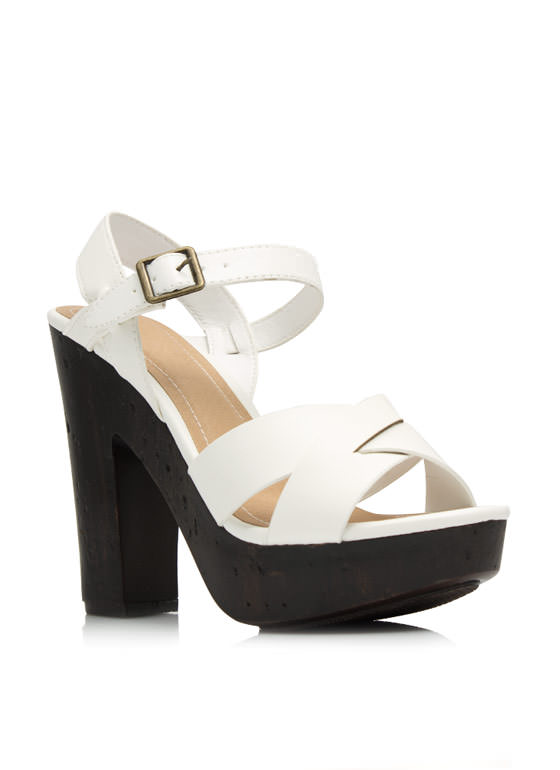Pull Thru Chunky Faux Wood Platforms WHITE