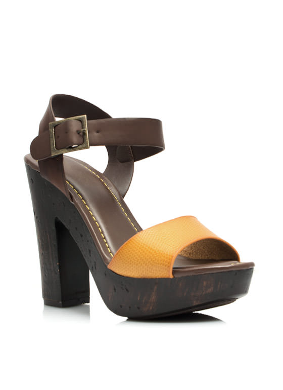 Hi Scale Chunky Faux Wood Platforms MUSTARD