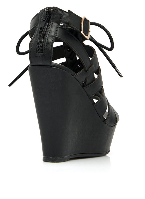 Get Laced Up Strappy Cut-Out Wedges BLACK