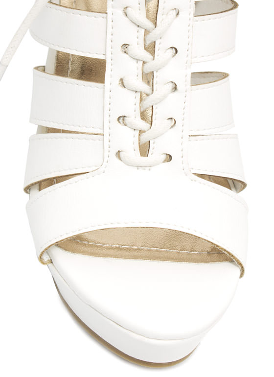 Get Laced Up Strappy Cut-Out Wedges WHITE