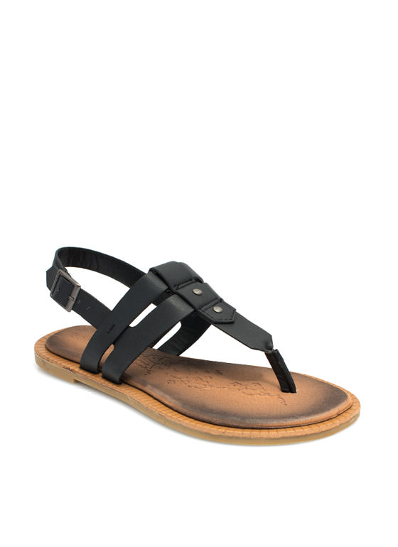 Double The Love T-Strap Sandals BLACK