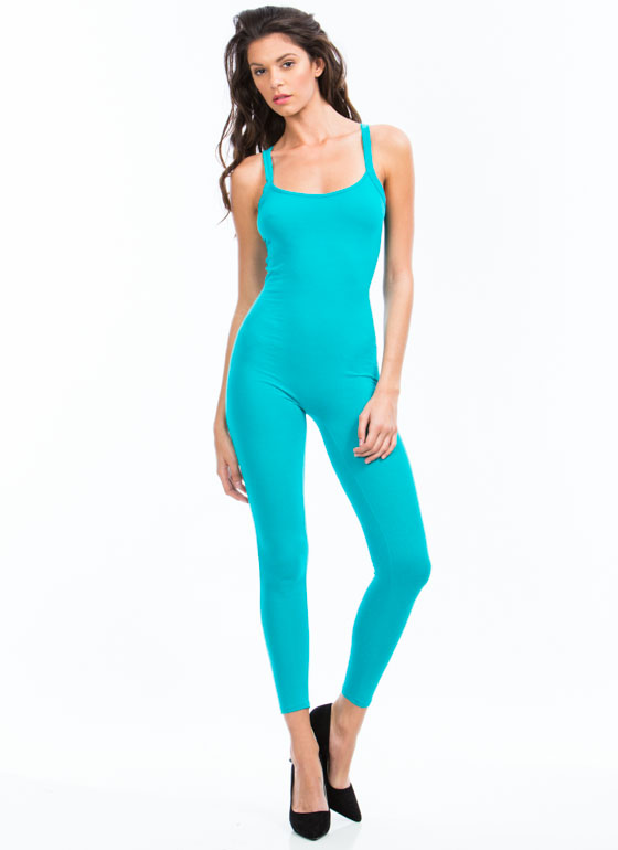 Use The Ladder Basic Jumpsuit TURQUOISE