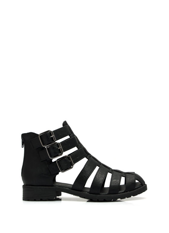 Caged Tri-Buckle Booties BLACK