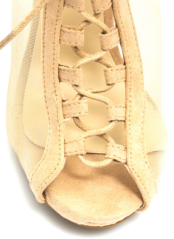 All Meshed Up Strappy Lace-Up Heels NATURAL