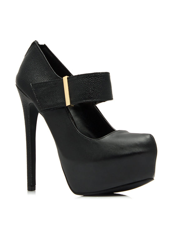 Textured Mary Jane Platform Heels BLACK