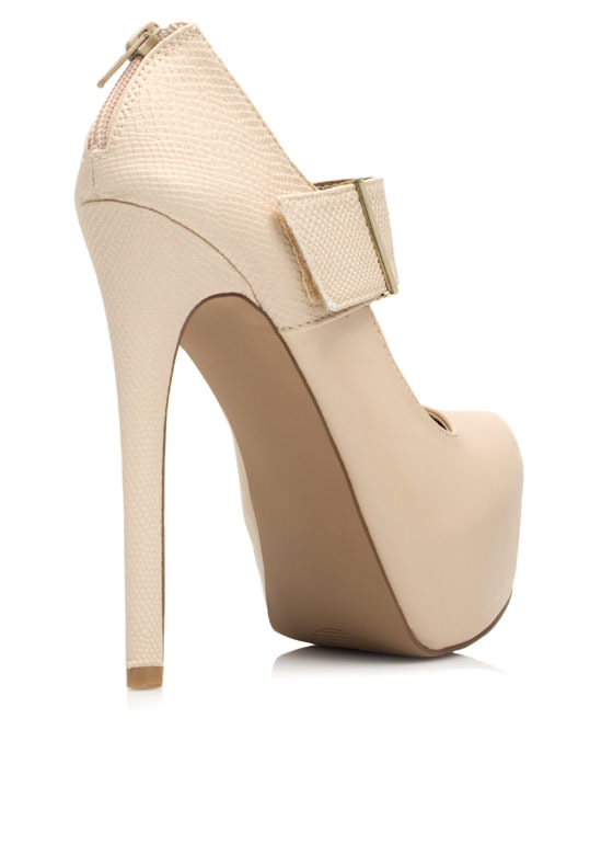Textured Mary Jane Platform Heels NUDE
