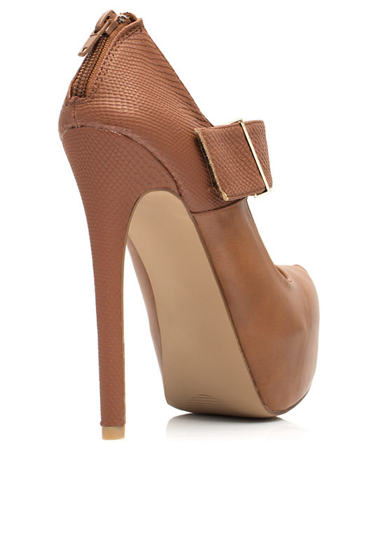 Textured Mary Jane Platform Heels RUST