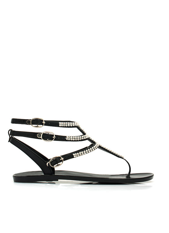 Glam Power Rhinestone Sandals BLACK