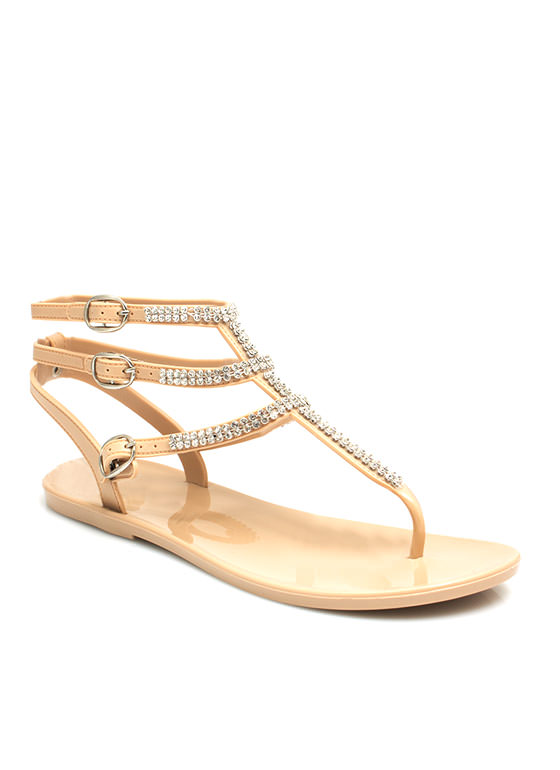Glam Power Rhinestone Sandals NUDE