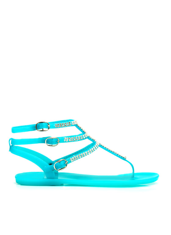 Glam Power Rhinestone Sandals TURQUOISE
