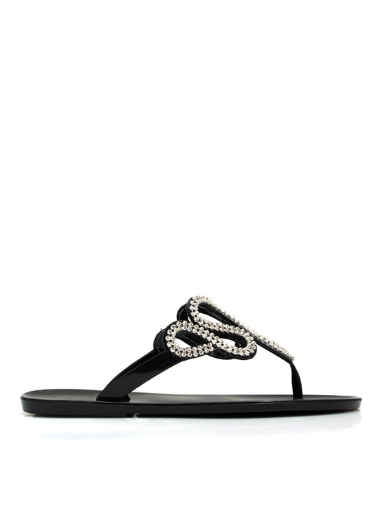 Do The Wave Jeweled Jelly Sandals BLACK