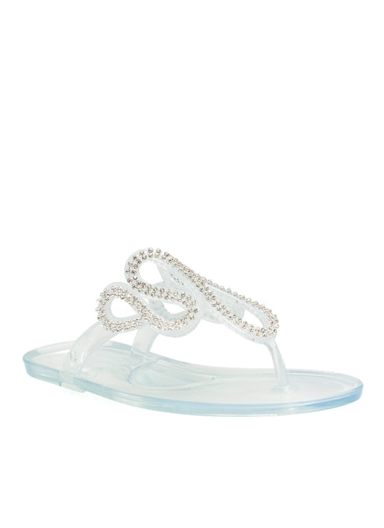 Do The Wave Jeweled Jelly Sandals CLEAR