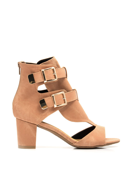 Double Buckle Ankle Boots CORAL