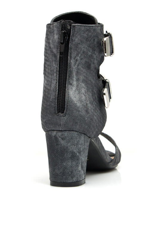 Double Buckle Ankle Boots SMOKE